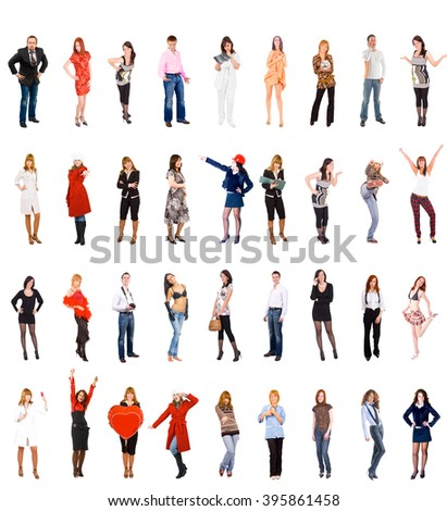 Big Group Together we Stand  - stock photo