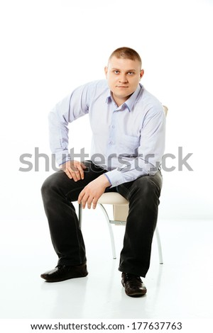 big guy smiling looking at camera, ordinary white business man with weight problem isolated over white