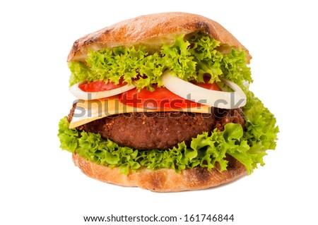 Big Hamburger isolated on white background - stock photo