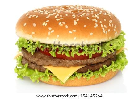 Big hamburger on white background - stock photo