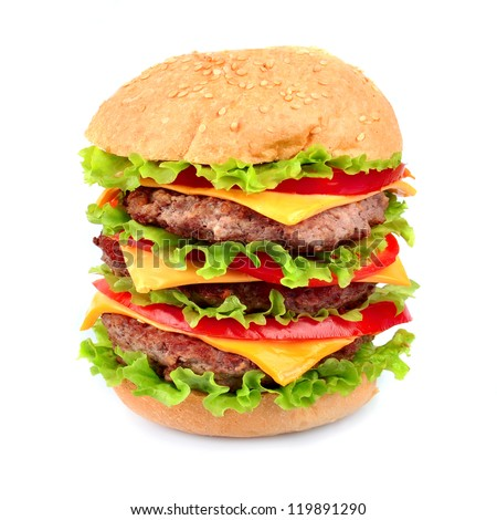 Big hamburger on white close up - stock photo