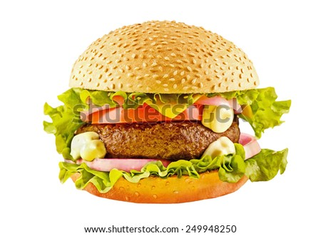 Big hamburger with beef cutlet and vegetables isolaed on white background