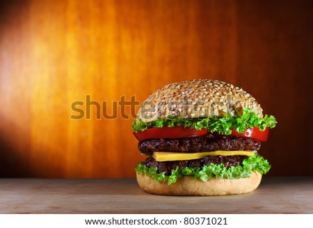 big hamburger with copy-space - stock photo