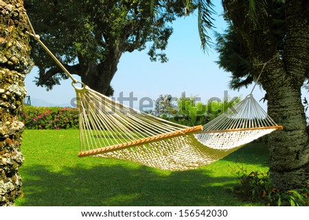 big hammock on the grass background - stock photo