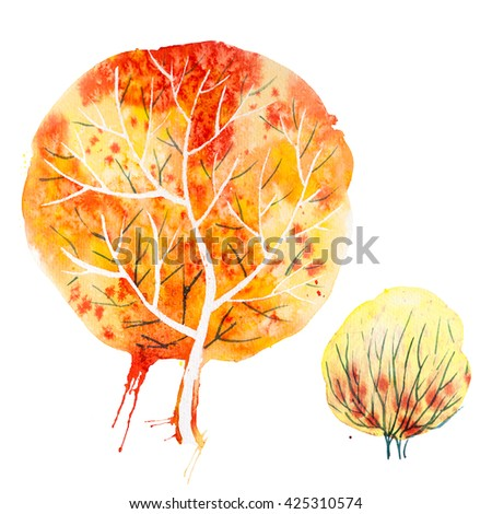 Big hand drawn watercolor orange yellow autumn tree and shrub, isolated on the white background - stock photo