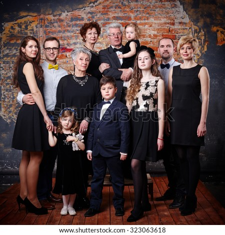 big happy family portrait - stock photo