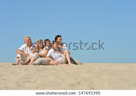 big happy family relaxing on the sand together