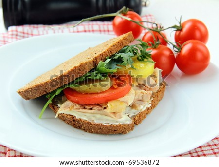 big healthy sandwiches made with whole grain bread, turkey breast and vegetables - stock photo