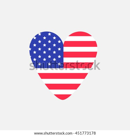Big heart american flag Star and strip icon. Sign symbol. Flat design