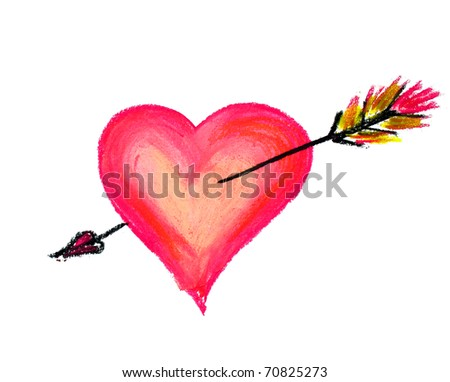 big heart with arrow isolated on a white - stock photo
