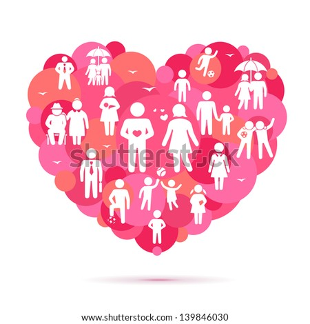 Big heart with family and friends icons - stock photo
