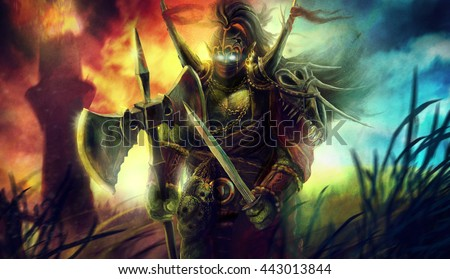 Big heavy orc goblin troll warrior standing on the battlefield illustration - stock photo