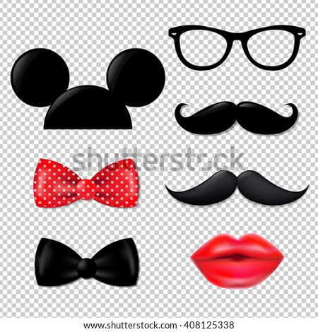 Big Hipster Set, Isolated on Transparent Background - stock photo