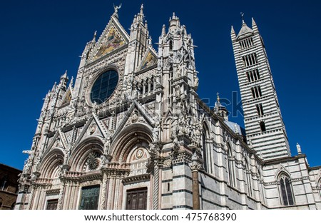 Big historic marble Cathedral in the city of Siena in the Tuscany