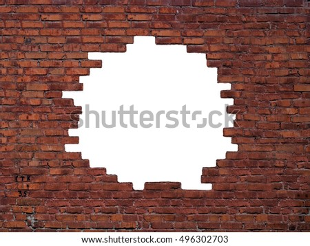 Big hole in the brick wall. With clipping path