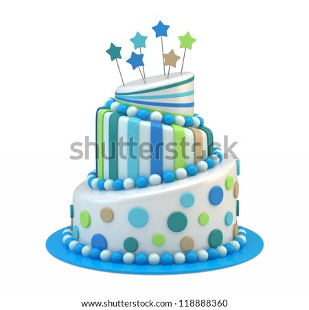 Big holiday cake isolated on white - stock photo