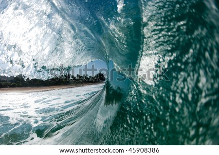 big hollow wave on the north shore of Oahu