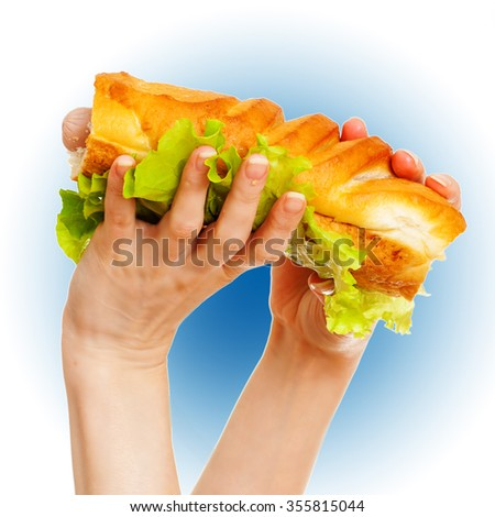 Big hot dog in female hands on blue and white background - stock photo