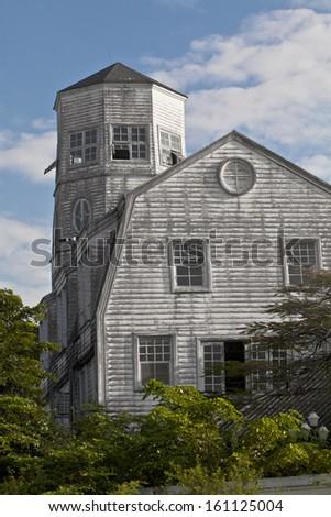 Big house in farm - stock photo