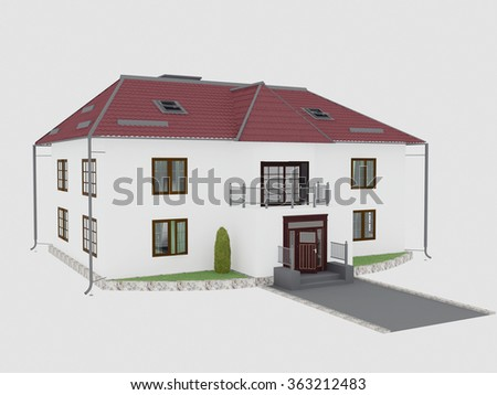 big house with red roof, 3d rendering