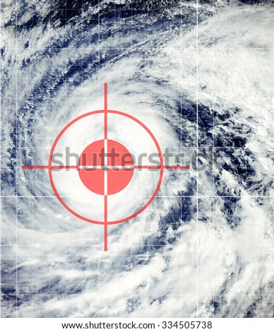Big hurricane with red cross hairs - Elements of this image furnished by NASA. - stock photo