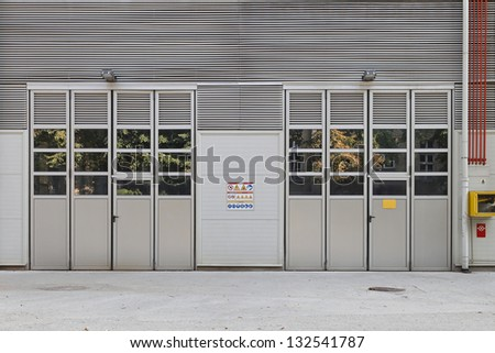 Big industrial double doors at metal factory