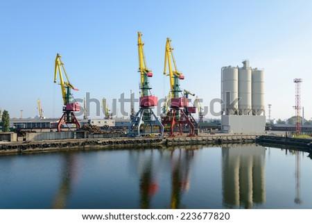Big industrial harbor crane - stock photo