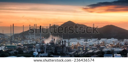 big Industrial oil tanks in a refinery at industrial plant. - stock photo