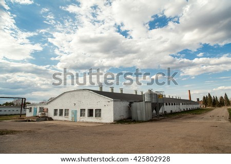 Big industrial white barn at Poultry Farm