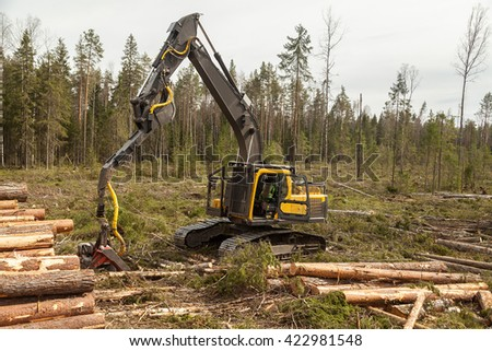 Big industrial wood harvester in pine forest with logs