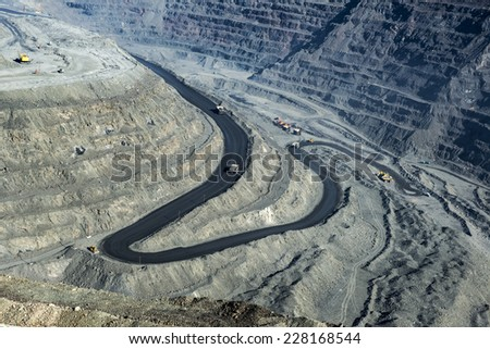 Big iron ore quarry, Poltava region, Ukraine, aerial view - stock photo