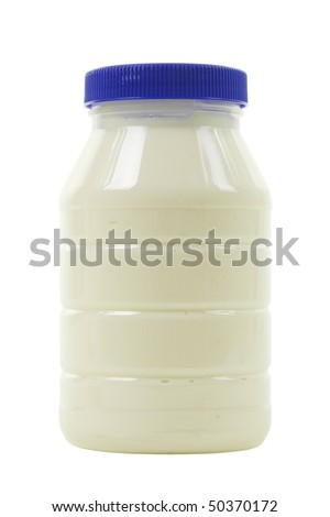 Big  jar with mayonnaise; isolated, clipping path included