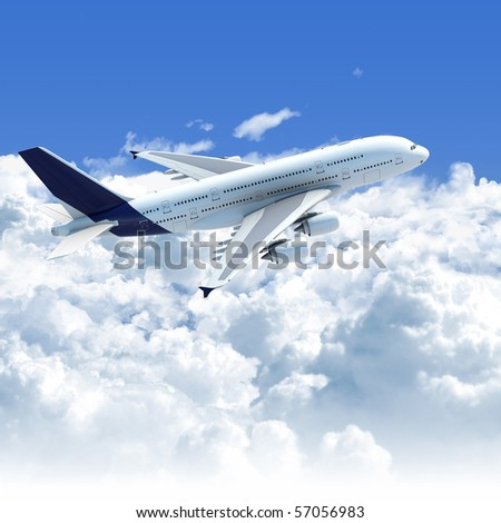 Big Jet airplane flying over a clear cloudscape seen from the side top, clipping path on the plane for easy isolation from the background - stock photo