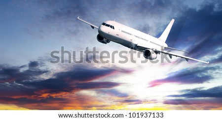 Big jet plane flying at night sky