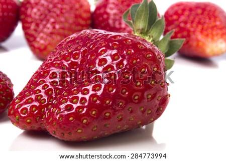 big juicy ripe strawberries appetizing - stock photo