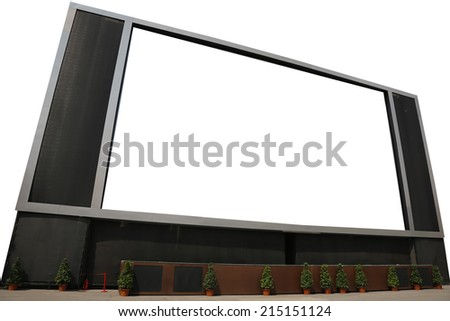Big LCD TV with blank screen Isolated on White Background - stock photo