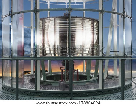 Big lighthouse lenses on a closeup shot. All metal structure are shown here - stock photo