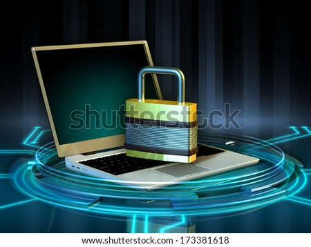 Big lock sitting on top of an open laptop computer. Digital illustration. - stock photo