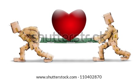 Big love heart on stretcher carried by box men characters on a white background