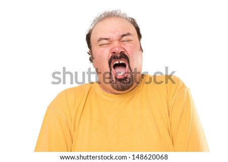 Big man is getting ready to sneeze, stay away, he is not even covering his mouth. Isolated on white. - stock photo