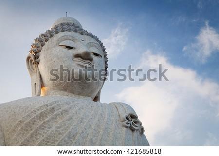 Big marble buddha statue on Phuket island, Thailand - stock photo