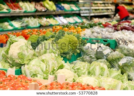 Big market for fresh vegetable - stock photo