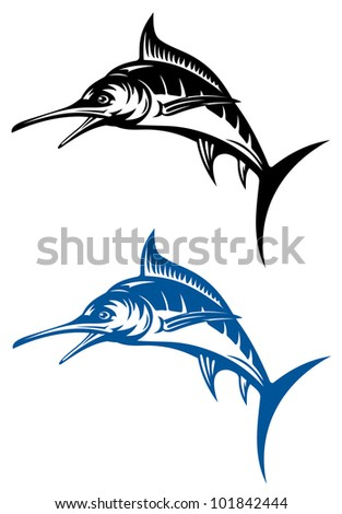 Big marlin fish isolated on white background for mascot design. Vector version also available in gallery - stock photo