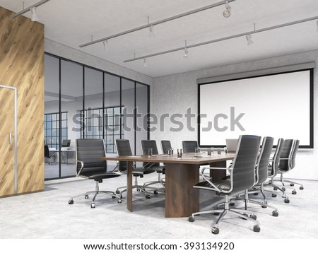 Big meeting room, blank poster on white wall behind table. Concept of negotiations. 3D rendering - stock photo