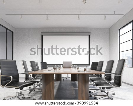 Big meeting room, blank poster on white wall behind table. Concept of negotiations. Front view. 3D rendering - stock photo