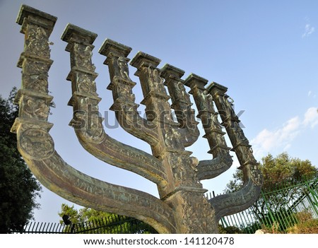 Big menorah of Jerusalem situated near the Knesset. (Israeli parliament). - stock photo