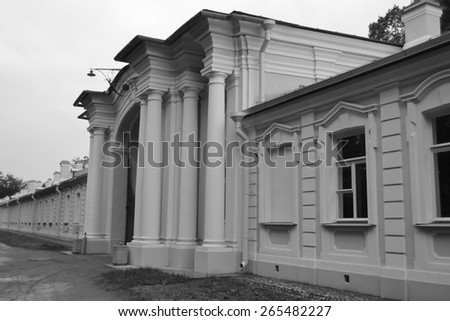 Big Menshikovsky palace in Oranienbaum, outskirts of St. Petersburg, Russia. Black and white.