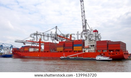 big metal containers on a big cargo ship  at the port of Rotterdam , Holland europoort - stock photo