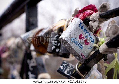 Big metall lock with hearts and names on it (forever love) - stock photo