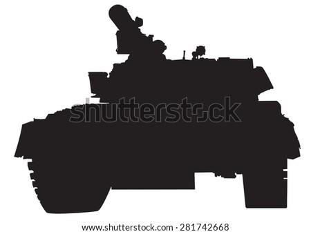 Big military tank on white background - stock photo